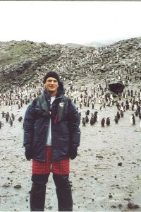 Hundreds of thousands of Chinstrap Penguins make Baily Head their breeding ground each year.  As most of them waddle around behind me, some very curious young'uns who haven't seen us humans before, are very attracted to my very red boxer shorts.  I was told it's because of the color, but that's nonsense.  I firmly believe it's because my shorts are actually covered with dozens of little penguins (really).