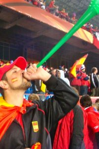 The World Cup was an incredible experience filled with face paint, vuvuzelas, beer, and football.  At this Spain v. Paraguay quarter-final match in Johannesburg's historic Ellis Park Stadium, I didn't realize that I would be blowing my vuvuzela loud and proud for the eventual winner of the whole tournament!  Viva España!