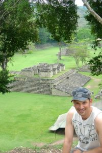 Since I clearly didn't learn from being almost stranded on top of a pyramid in Belize last year, here I am on top of a pyramid at the beautiful ruins of Copán in western Honduras.  (Really, this pyramid is nowhere near as high or as steep as the one at Lamanai!  So maybe I did learn something after all...)